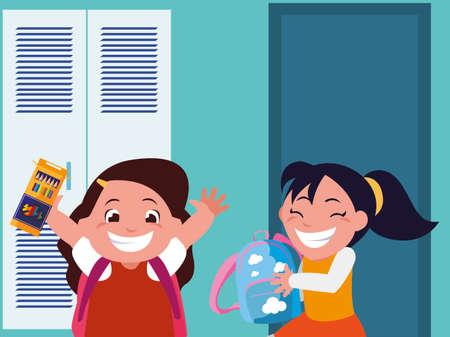 happy little schoolgirls in the school corridor vector illustration design Ilustração Vetorial