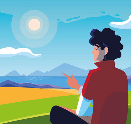 man seated observing landscape with lake vector illustration design 일러스트