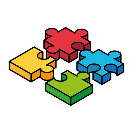 colorful puzzle pieces on white background vector illustration design