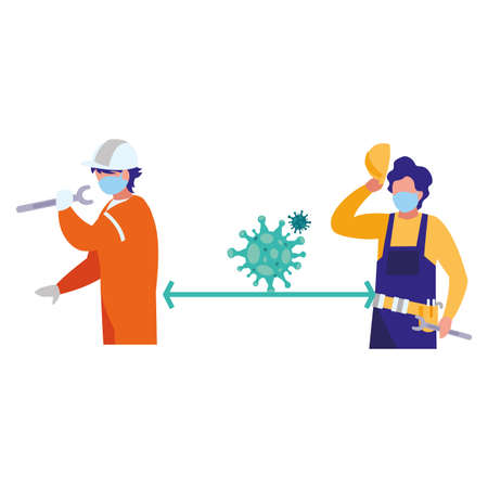 Industrial workers working with safety rules vector illustration design
