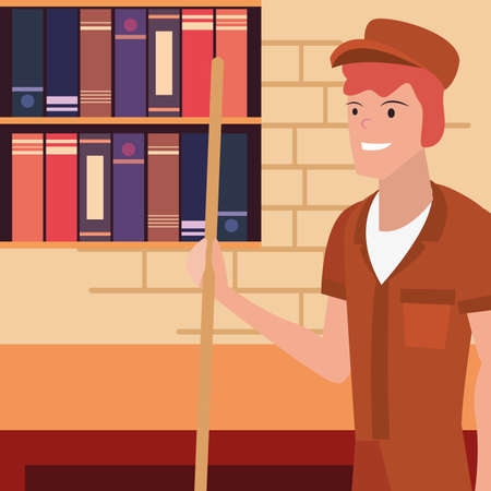 street sweeper man office labour day vector illustration