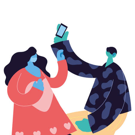 couple with smart phones taking photos vector illustration desing