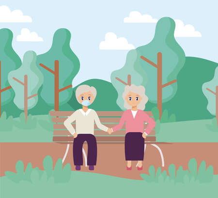 elderly care, old couple sitting in park chair vector illustration design