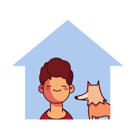boy and dog at home smiling vector illustration design