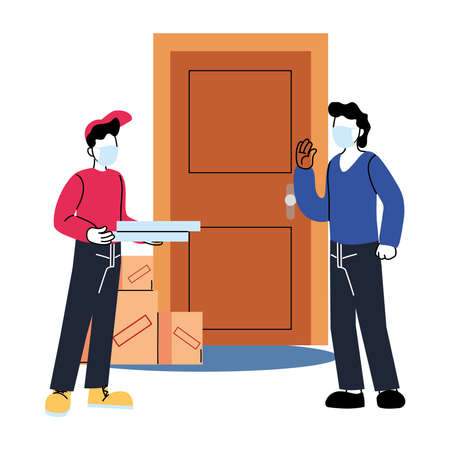 client and man with mask and pizza box outside door design, Safe delivery quarantine logistics and transportation theme Vector illustration