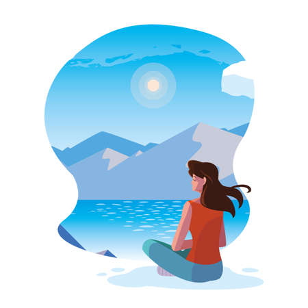 woman seated observing landscape with lake vector illustration design 일러스트