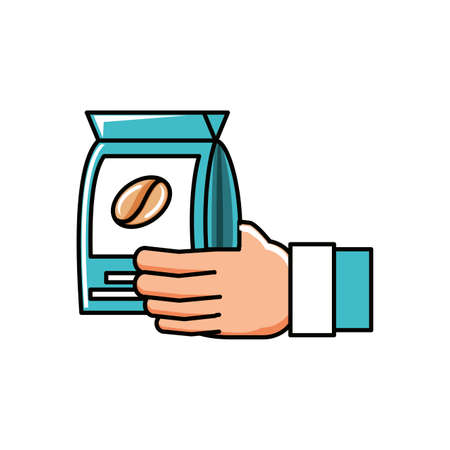 hand with bag coffee isolated icon vector illustration design Векторная Иллюстрация