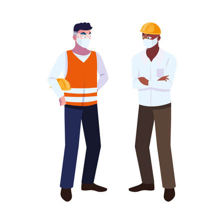 engineer and operator using mask vector illustration desing