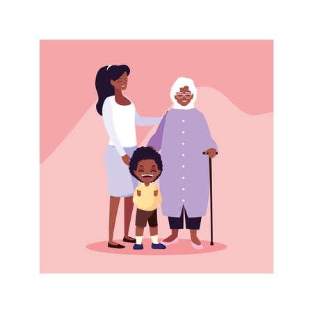 grandmother, woman and children standing vector illustration design Illustration