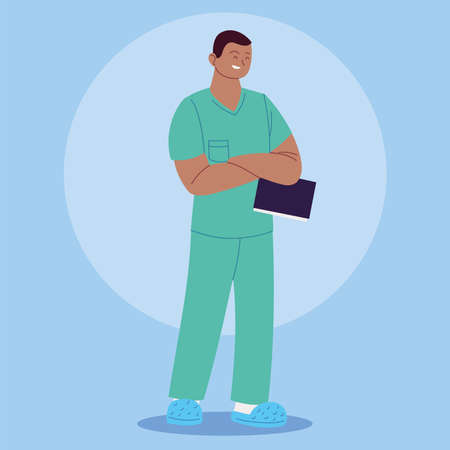 male nurse in uniform, health worker vector illustration design