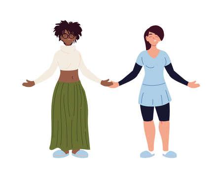 black hair and black women cartoons design, diversity people multiethnic race and community theme Vector illustration