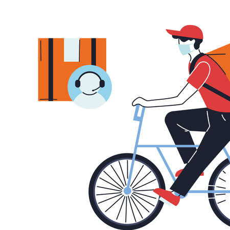 customer service with courier delivery vector illustration desing Vektoros illusztráció