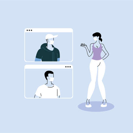 group of people talking in videocall conference, social distancing vector illustration design