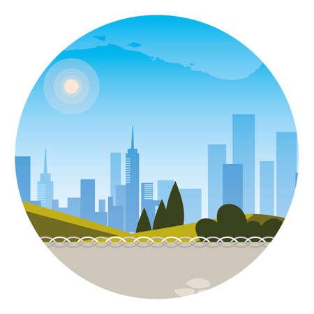 city park view in summer seasons vector illustration design