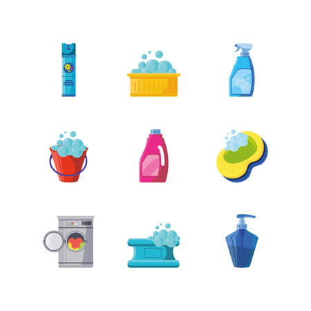 set of icons cleaning on white background vector illustration design