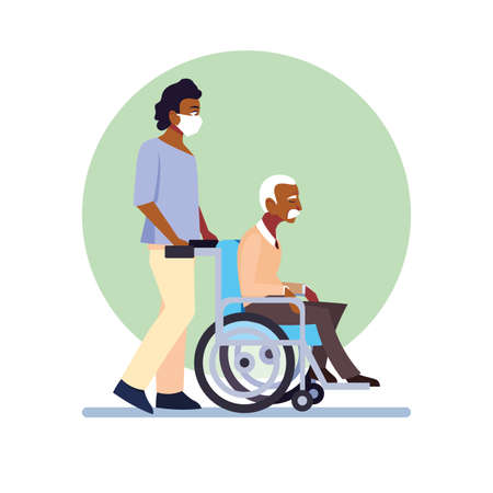 young man take care of old man vector illustration design