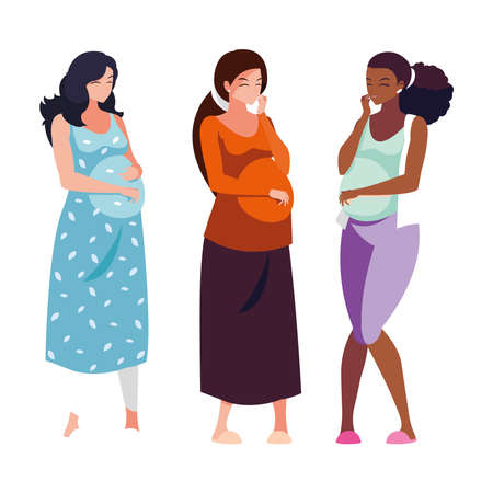 three pregnant women cartoons design, Belly pregnancy maternity and mother theme Vector illustration