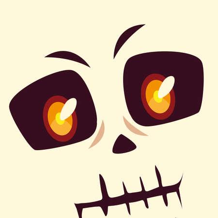 head of skeleton character for happy halloween vector illustration design
