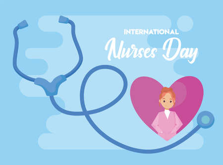 poster of the international nurse day vector illustration design