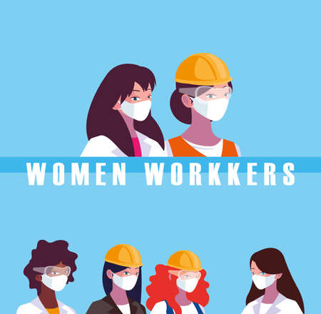 Architect businesswoman engineer and builder woman with masks and helmets design, Women workers theme Vector illustration