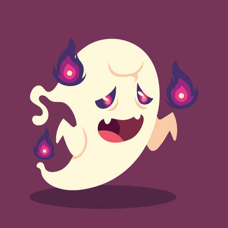 ghost character for happy halloween vector illustration design