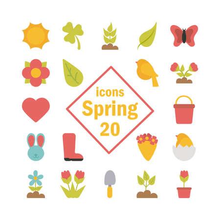 set of spring icons on white background vector illustration design