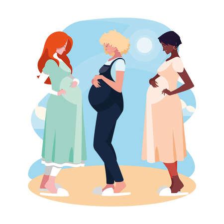 three pregnant women cartoons in front of sun and clouds design, Belly pregnancy maternity and mother theme Vector illustration 矢量图像