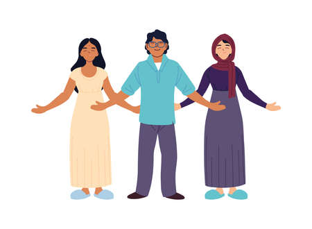 indian muslim women and man cartoons design, diversity people multiethnic race and community theme Vector illustration
