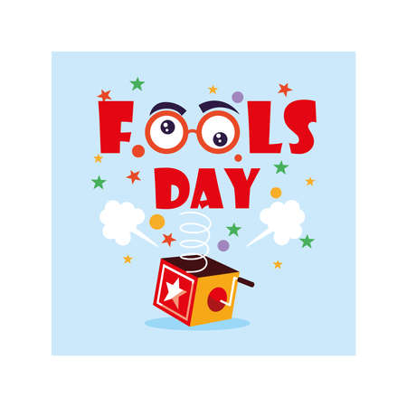 card with label april fools day, humorous party vector illustration design