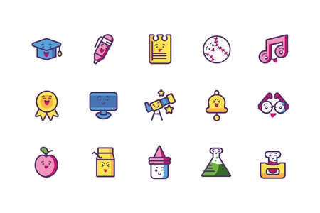 Icon set cartoons design, Kawaii school expression cute character funny and emoticon theme Vector illustration Illustration