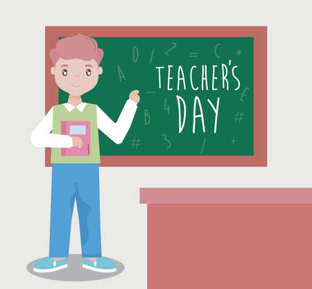 greeting card happy teacher day, male teacher vector illustration design Vettoriali