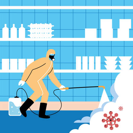 man in suit disinfecting the industry vector industry desing Vektorové ilustrace