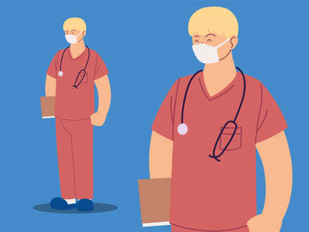 man nurse in uniform, health worker in different poses vector illustration design