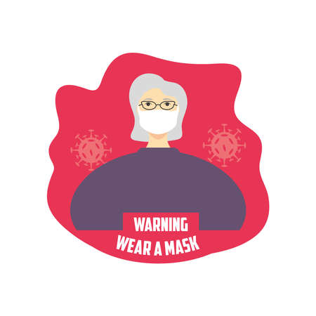 warning sign recommend use of protective face mask, wear at mask vector illustration design Ilustración de vector