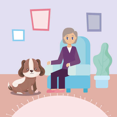 elderly woman in the living room with a dog vector illustration design