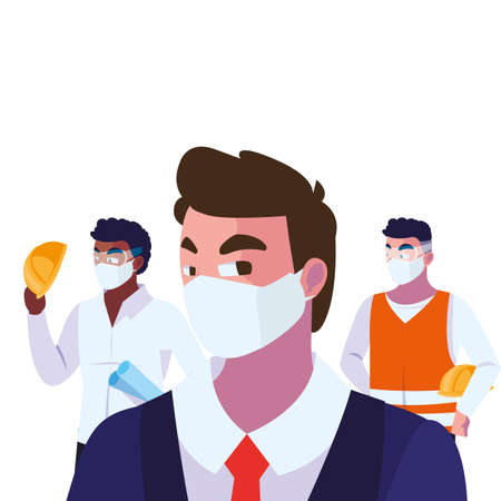 engineers and executive wearing face mask vector illustration design