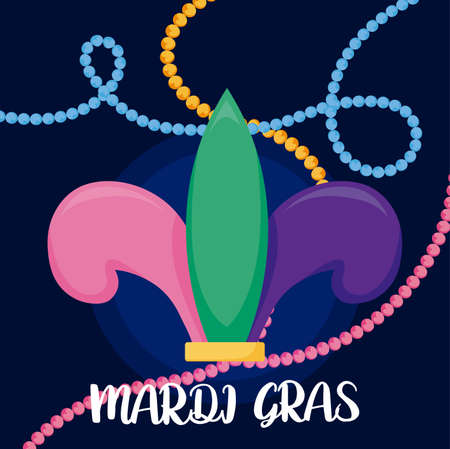 Mardi gras fleur de lis with necklaces design, Party carnival decoration celebration festival holiday fun new orleans and traditional theme Vector illustration