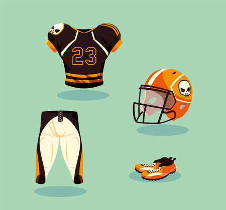 american football player outfit in orange and black vector illustration design