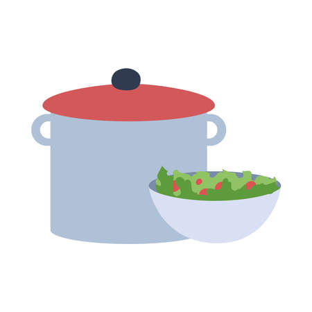 big silver pot with soup and a plat of salad vector illustration design