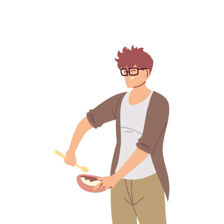 young cook man with glasses on white background vector illustration design