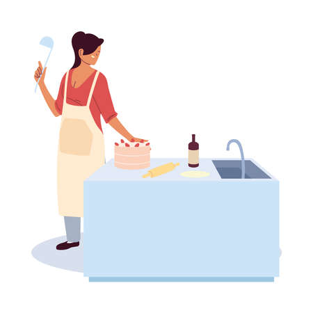 young woman cook preparing a cake vector illustration design