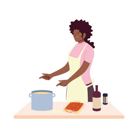 young woman cook preparing a soap vector illustration design