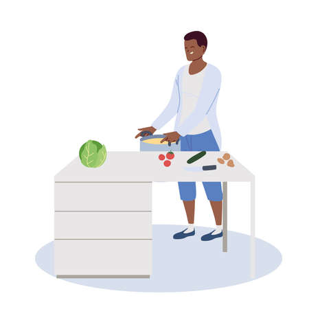 young man cooked a delicious soup in the kitchen vector illustration design Ilustracja