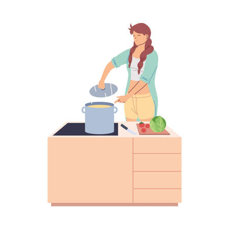 young woman cooked a delicious soup in the kitchen vector illustration design