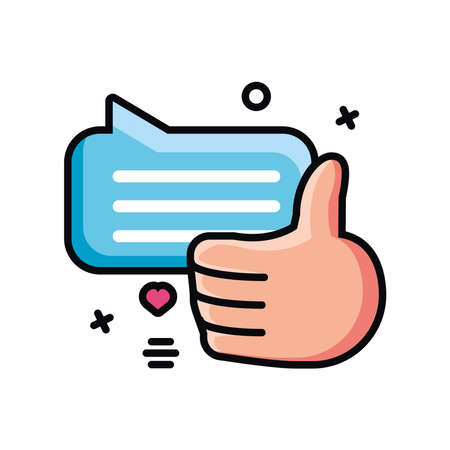 speech bubble with hand in approval symbol vector illustration design