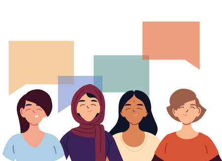 latin muslim indian and european women cartoons with bubbles design, diversity multicultural friends and multiethnic theme Vector illustration 矢量图像