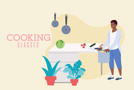 Young man cooking a delicious soup in classes vector illustration design