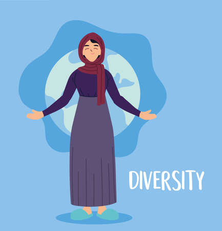 muslim woman cartoon in front of world sphere design, diversity people multicultural friends and multiethnic theme Vector illustration 矢量图像