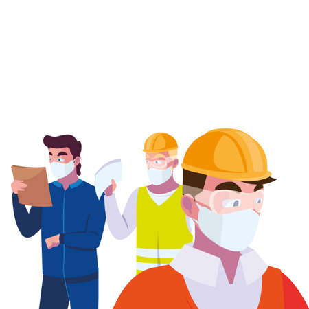 architec and operators wearing face masks vector illustration desing Иллюстрация