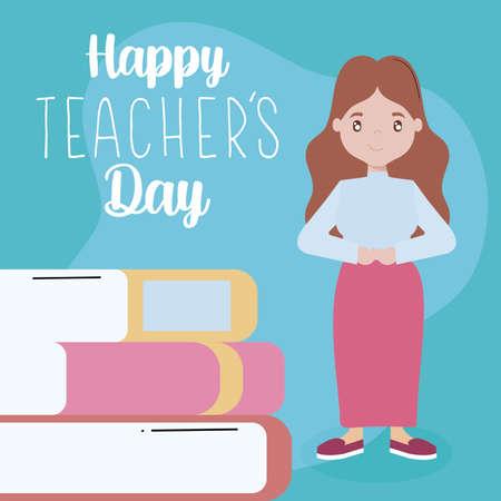 greeting card happy teacher day with female teacher vector illustration design